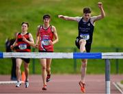 17 May 2018; Jack Cawley of Summerhill College Sligo, competing in the Senior Boys 2000m Steeplechase event during the Irish Life Health Connacht Schools Track and Field event at Athlone I.T., Athlone, Co. Westmeath. Photo by Harry Murphy/Sportsfile