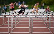 17 May 2018; Shane Mooney of Summerhill College, Co. Sligo, competing in the Senior Boys 110m Hurdles event during the Irish Life Health Connacht Schools Track and Field event at Athlone I.T., Athlone, Co. Westmeath. Photo by Harry Murphy/Sportsfile