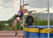17 May 2018; Ava Finn of Presentation College Athenry, Co. Galway, competing in the Junior Girls High Jump event during the Irish Life Health Connacht Schools Track and Field event at Athlone I.T., Athlone, Co. Westmeath. Photo by Harry Murphy/Sportsfile