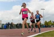 17 May 2018; Ciara Sheppard of Calasanctius College Oranmore, Co. Galway, left, with Catherine Noonan of Presentation College Athenry, Co. Galway, and Ciara Carr of Roscommon Convent of Mercy, Co. Roscommon, competing in the Inter Girls 3000m event during the Irish Life Health Connacht Schools Track and Field event at Athlone I.T., Athlone, Co. Westmeath. Photo by Harry Murphy/Sportsfile