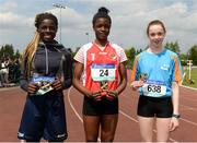 17 May 2018; First Placed Funmi Talabi of Ard Scoil Phadraig, Granard, Co. Longford, centre, second placed Rolake Olusola of Merlin Park College, Co. Galway, left, and third placed Alannah Mc Nicholas of St Louis CS Kiltimagh, Co. Mayo, competing in the Minor Girls 100m event during the Irish Life Health Connacht Schools Track and Field event at Athlone I.T., Athlone, Co. Westmeath. Photo by Harry Murphy/Sportsfile