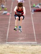17 May 2018; Eamonn MacDonnacha of St Marys, Galway, competing in the Inter Boys Long Jump event during the Irish Life Health Connacht Schools Track and Field event at Athlone I.T., Athlone, Co. Westmeath. Photo by Harry Murphy/Sportsfile