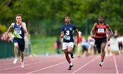 17 May 2018; Aaron Keane of Moate CS, Co. Westmeath, left, Anthony Loye of Merlin Park College, Co. Galway and Patrick Nnadi of St Marys, Co. Galway, competing in the Inter Boys 100m event during the Irish Life Health Connacht Schools Track and Field event at Athlone I.T., Athlone, Co. Westmeath. Photo by Harry Murphy/Sportsfile