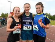17 May 2018; First placed Lauren Cadden of Ursuline Sligo, centre, second placed Lena Gacquin of Athlone CC, Co Westmeath, left, and third placed Sarah McVeigh of Scoil Mhuire Strokestown, Co Roscommon, after competing in the Senior Girls event during the Irish Life Health Connacht Schools Track and Field event at Athlone I.T., Athlone, Co. Westmeath. Photo by Harry Murphy/Sportsfile