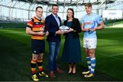 17 May 2018; Scott Deasy of Lansdowne FC winner of Top Points Scorer, left, and Liam Coombes of Garryowen FC, winner of Top Try Scorer, right, in attendance with Ulster Bank Rugby Ambassador, Alan Quinlan, and Carol McMahon, Head of Business Marketing & Sponsorship for Ulster Bank, at the Ulster Bank League Awards at the Aviva Stadium in Dublin. Photo by Sam Barnes/Sportsfile