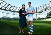 17 May 2018;  Liam Coombes of Garryowen FC, winner of Top Try Scorer,is presented with his award by Carol McMahon, Head of Business Marketing & Sponsorship for Ulster Bank, at the Ulster Bank League Awards at the Aviva Stadium in Dublin. Photo by Sam Barnes/Sportsfile