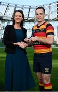 17 May 2018; Scott Deasy of Lansdowne FC winner of Top Points Scorer, is presented with his award by Carol McMahon, Head of Business Marketing & Sponsorship for Ulster Bank, at the Ulster Bank League Awards at the Aviva Stadium in Dublin. Photo by Sam Barnes/Sportsfile
