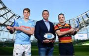 17 May 2018;  Liam Coombes of Garryowen FC, winner of Top Try Scorer, left, and Scott Deasy of Lansdowne FC winner of Top Points Scorer, right, in attendance with Ulster Bank Rugby Ambassador, Alan Quinlan, at the Ulster Bank League Awards at the Aviva Stadium in Dublin. Photo by Sam Barnes/Sportsfile