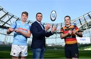 17 May 2018;  Liam Coombes, Garryowen FC, winner of Top Try Scorer, left, and Scott Deasy, Lansdowne FC winner of Top Points Scorer, right, in attendance with Ulster Bank Rugby Ambassador, Alan Quinlan, at the Ulster Bank League Awards at the Aviva Stadium in Dublin. Photo by Sam Barnes/Sportsfile