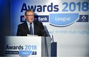 17 May 2018; Norman Ginnelly, Head of Restructuring & Recoveries for Ulster Bank, speaking at the Ulster Bank League Awards 2018 at the Aviva Stadium in Dublin. Irish rugby head coach Joe Schmidt was in attendance to present the awards to the best rugby players and coaches across all divisions of the Ulster Bank League.  Photo by Sam Barnes/Sportsfile