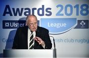 17 May 2018; Philip Orr, President of the IRFU, speaking at the Ulster Bank League Awards 2018 at the Aviva Stadium in Dublin. Irish rugby head coach Joe Schmidt was in attendance to present the awards to the best rugby players and coaches across all divisions of the Ulster Bank League.  Photo by Sam Barnes/Sportsfile