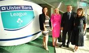 17 May 2018; In attendance are , from left, Sharon Coventry, Norman Ginnelly, Head of Restructuring & Recoveries for Ulster Bank, and Elizabeth Arnett, Head of Corporate Affairs for Ulster Bank, and Sam Coventry, pictured at the Ulster Bank League Awards 2018 at the Aviva Stadium in Dublin. Irish rugby head coach Joe Schmidt was in attendance to present the awards to the best rugby players and coaches across all divisions of the Ulster Bank League.  Photo by Sam Barnes/Sportsfile