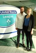 17 May 2018; Bain Champion of Seapoint Rugby Club, Co Dublin, and his partner Jade Waldin, pictured at the Ulster Bank League Awards 2018 at the Aviva Stadium in Dublin. Irish rugby head coach Joe Schmidt was in attendance to present the awards to the best rugby players and coaches across all divisions of the Ulster Bank League.  Photo by Sam Barnes/Sportsfile