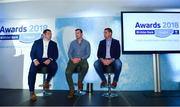 17 May 2018; Ulster Bank Rugby Ambassador, Alan Quinlan, right, with former Irish internationals Mike Ross, left, & Denis Hurley, centre, take part in a Q&A panel discussion with MC Damien O'Meara during the Ulster Bank League Awards at the Aviva Stadium in Dublin. Photo by Sam Barnes/Sportsfile