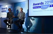 17 May 2018; Ireland head coach Joe Schmidt, right, takes part in a Q&A discussion with MC Damien O'Meara during the Ulster Bank League Awards at the Aviva Stadium in Dublin. Photo by Sam Barnes/Sportsfile