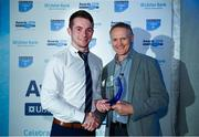 17 May 2018; Val McDermott of Old Crescent RFC, Co Limerick, is presented with the award for Ulster Bank Division 2B Player of Year Award by Ireland rugby head coach Joe Schmidt during the Ulster Bank League Awards at the Aviva Stadium in Dublin. Photo by Sam Barnes/Sportsfile