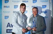 17 May 2018; Alex McHenry of Cork Constitution FC, Co Cork, is presented with the award for Ulster Bank Division 1A Rising Star Award by Ireland rugby head coach Joe Schmidt during the Ulster Bank League Awards at the Aviva Stadium in Dublin. Photo by Sam Barnes/Sportsfile