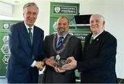 18 May 2018; FAI CEO John Delaney, left, Acting Deputy Lord Mayor and Councillor Thomas Moloney and FAI President Tony Fitzgerald, right, pictured at 2018 the Football Association of Ireland's Festival of Football and AGM Launch at Vertigo, County Hall, Co Cork. Photo by Harry Murphy/Sportsfile