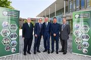 18 May 2018; From left, FAI President Tony Fitzgerald, Republic of Ireland manager Martin O'Neill, FAI CEO John Delaney, Republic of Ireland Women's head coach Colin Bell and Acting Deputy Lord Mayor and Councillor Thomas Moloney pictured at the 2018 Football Association of Ireland's Festival of Football and AGM Launch at Vertigo, County Hall, Co Cork. Photo by Harry Murphy/Sportsfile