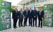 18 May 2018; From left, FAI President Tony Fitzgerald, Acting Deputy Lord Mayor and Councillor Thomas Moloney, Republic of Ireland manager Martin O'Neill, FAI CEO John Delaney, Republic of Ireland Women's head coach Colin Bell and County Lord Mayor Councillor Declan Hurley pictured at the 2018 Football Association of Ireland's Festival of Football and AGM Launch at Vertigo, County Hall, Co Cork. Photo by Harry Murphy/Sportsfile