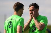 18 May 2018; Greg Cunningham, right, and Seamus Coleman during Republic of Ireland squad training at the FAI National Training Centre in Abbotstown, Dublin. Photo by Stephen McCarthy/Sportsfile