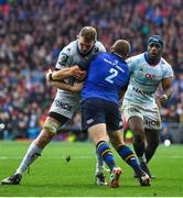 12 May 2018; Donnacha Ryan of Racing 92 is tackled by Sean Cronin of Leinster during the European Rugby Champions Cup Final match between Leinster and Racing 92 at the San Mames Stadium in Bilbao, Spain. Photo by Brendan Moran/Sportsfile