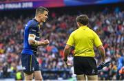 12 May 2018; Jonathan Sexton of Leinster speaks to touch judge JP Doyle during the European Rugby Champions Cup Final match between Leinster and Racing 92 at the San Mames Stadium in Bilbao, Spain. Photo by Brendan Moran/Sportsfile