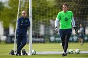 19 May 2018; Republic of Ireland manager Martin O'Neill and goalkeeper Colin Doyle during squad training at the FAI National Training Centre in Abbotstown, Dublin. Photo by Stephen McCarthy/Sportsfile