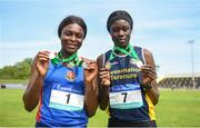 19 May 2018; Rhasidat Adeleke of Presentation Terenure, Co Dublin, right, with her gold medals and Patience Jumbo-Gula of St Vincent's Dundalk, Co Louth, with her silver medals for both the Inter Girls 100m and 200m races during Day Two of the Irish Life Health Leinster Schools Track and Field Championships at Morton Stadium in Santry, Dublin. Photo by David Fitzgerald/Sportsfile