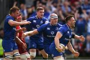 19 May 2018; Jack Conan, right, celebrates with his Leinster team-mates, from left, Jordi Murphy, Luke McGrath and Devin Toner after scoring the opening try during the Guinness PRO14 semi-final match between Leinster and Munster at the RDS Arena in Dublin. Photo by Stephen McCarthy/Sportsfile