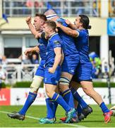 19 May 2018; Jack Conan, left, of Leinster celebrates with team-mates after scoring his side's first try during the Guinness PRO14 semi-final match between Leinster and Munster at the RDS Arena in Dublin. Photo by Ramsey Cardy/Sportsfile