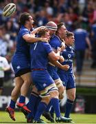 19 May 2018; Jack Conan, second from right, celebrates with his Leinster team-mates, from left, James Lowe, Jordi Murphy, Devin Toner and Luke McGrath after scoring the opening try during the Guinness PRO14 semi-final match between Leinster and Munster at the RDS Arena in Dublin. Photo by Stephen McCarthy/Sportsfile