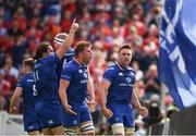 19 May 2018; Jack Conan, right, celebrates with his Leinster team-mates James Lowe and Jordi Murphy after scoring the opening try during the Guinness PRO14 semi-final match between Leinster and Munster at the RDS Arena in Dublin. Photo by Stephen McCarthy/Sportsfile
