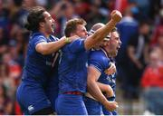 19 May 2018; Jack Conan, right, celebrates with his Leinster team-mates, from left, James Lowe, Jordi Murphy and Devin Toner after scoring the opening try during the Guinness PRO14 semi-final match between Leinster and Munster at the RDS Arena in Dublin. Photo by Stephen McCarthy/Sportsfile
