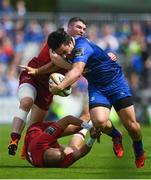 19 May 2018; James Lowe of Leinster is tackled by Simon Zebo, below, and Sammy Arnold of Munster during the Guinness PRO14 semi-final match between Leinster and Munster at the RDS Arena in Dublin. Photo by Ramsey Cardy/Sportsfile