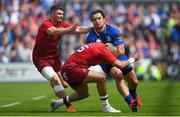 19 May 2018; James Lowe of Leinster is tackled by Simon Zebo, right, and Sammy Arnold of Munster during the Guinness PRO14 semi-final match between Leinster and Munster at the RDS Arena in Dublin. Photo by Ramsey Cardy/Sportsfile