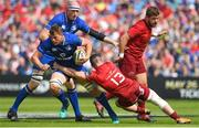 19 May 2018; Jordi Murphy of Leinster is tackled by Sammy Arnold of Munster during the Guinness PRO14 semi-final match between Leinster and Munster at the RDS Arena in Dublin. Photo by Ramsey Cardy/Sportsfile