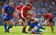 19 May 2018; Rhys Marshall of Munster is tackled by Ross Byrne of Leinster during the Guinness PRO14 semi-final match between Leinster and Munster at the RDS Arena in Dublin. Photo by Brendan Moran/Sportsfile