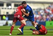 19 May 2018; James Ryan of Leinster is tackled by JJ Hanrahan, left, and Robin Copeland of Munster during the Guinness PRO14 semi-final match between Leinster and Munster at the RDS Arena in Dublin. Photo by Ramsey Cardy/Sportsfile