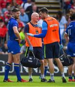 19 May 2018; Ross Byrne of Leinster is attended to by Leinster senior physiotherapist Karl Denvir before leaving the pitch for a head injury assessment during the Guinness PRO14 semi-final match between Leinster and Munster at the RDS Arena in Dublin. Photo by Brendan Moran/Sportsfile