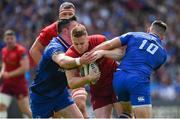 19 May 2018; Rory Scannell of Munster is tackled by James Ryan and Ross Byrne of Leinster during the Guinness PRO14 semi-final match between Leinster and Munster at the RDS Arena in Dublin. Photo by Brendan Moran/Sportsfile
