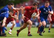 19 May 2018; Rhys Marshall of Munster makes a break despite the attention of Leinster players, from left, Jack Conan, Luke McGrath and Tadhg Furlong during the Guinness PRO14 semi-final match between Leinster and Munster at the RDS Arena in Dublin. Photo by Stephen McCarthy/Sportsfile