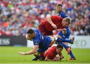 19 May 2018; Jack Conan of Leinster is tackled by John Ryan and Ian Keatley of Munster during the Guinness PRO14 semi-final match between Leinster and Munster at the RDS Arena in Dublin. Photo by Brendan Moran/Sportsfile