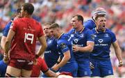 19 May 2018; Leinster players, from left, Sean Cronin, Jordan Larmour, Rhys Ruddock and Jack Conan celebrate a turnover during the Guinness PRO14 semi-final match between Leinster and Munster at the RDS Arena in Dublin. Photo by Ramsey Cardy/Sportsfile