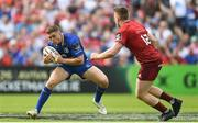 19 May 2018; Jordan Larmour of Leinster in action against Rory Scannell of Munster during the Guinness PRO14 semi-final match between Leinster and Munster at the RDS Arena in Dublin. Photo by Ramsey Cardy/Sportsfile