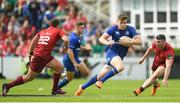 19 May 2018; Garry Ringrose of Leinster in action against Ian Keatley, left, and JJ Hanrahan of Munster during the Guinness PRO14 semi-final match between Leinster and Munster at the RDS Arena in Dublin. Photo by Ramsey Cardy/Sportsfile