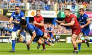 19 May 2018; Jack Conan receives an offload from Leinster teammate James Lowe on his way to scoring his side's first try during the Guinness PRO14 semi-final match between Leinster and Munster at the RDS Arena in Dublin. Photo by Ramsey Cardy/Sportsfile