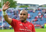 19 May 2018; Simon Zebo of Munster waves to the crowd after the Guinness PRO14 semi-final match between Leinster and Munster at the RDS Arena in Dublin. Photo by Brendan Moran/Sportsfile