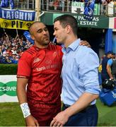 19 May 2018; Simon Zebo of Munster with Jonathan Sexton of Leinster after the Guinness PRO14 semi-final match between Leinster and Munster at the RDS Arena in Dublin. Photo by Brendan Moran/Sportsfile