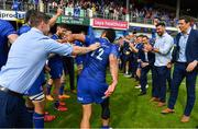 19 May 2018; Isa Nacewa of Leinster is applauded off by team-mate Jonathan Sexton after his final home game before retirement after the Guinness PRO14 semi-final match between Leinster and Munster at the RDS Arena in Dublin. Photo by Brendan Moran/Sportsfile